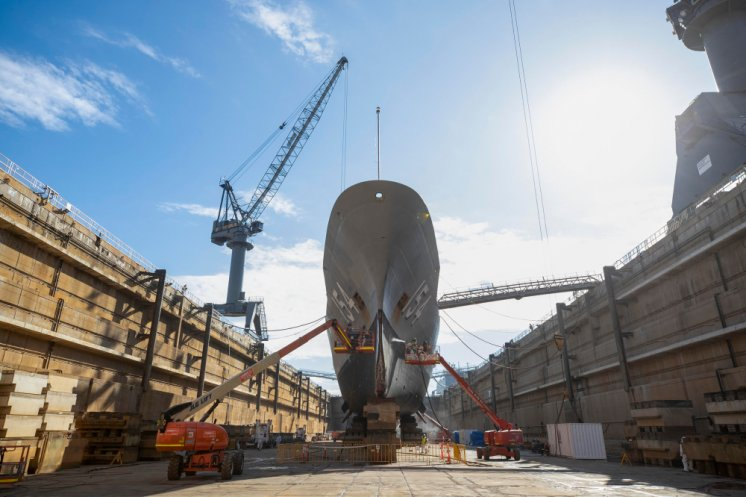 HMAS Parramatta during a refit in the Captain Cook Graving Dock at Garden Island, Sydney, NSW.