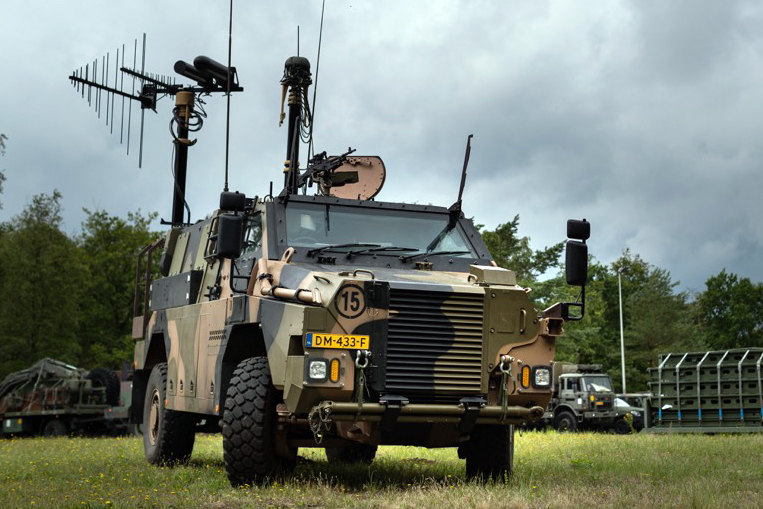 The Royal Netherlands Army took delivery of its first Multirole Electronic Warfare Bushmaster on July 1. Based on the Thales Australia Bushmaster, it is clearly recognizable by its antennas.