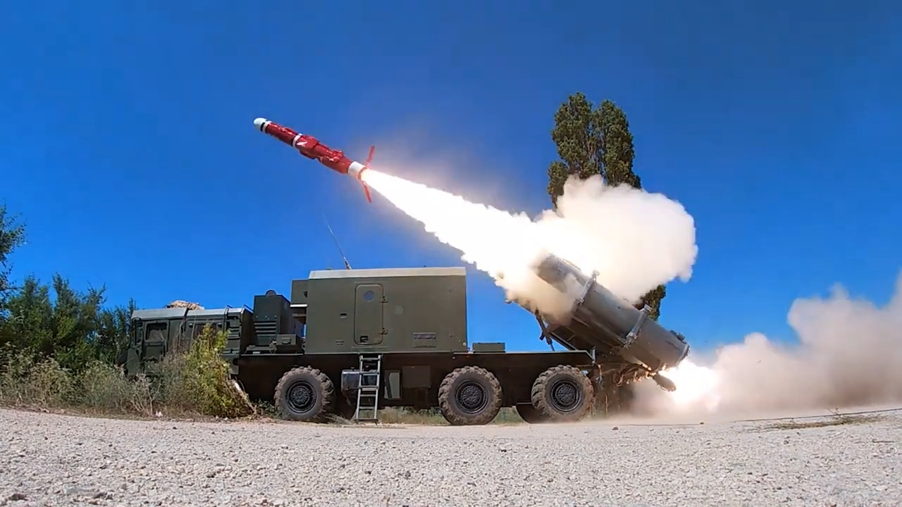 Russia Black Sea Fleet Bal Coastal Missile System Unit Fires Live Weapon on Practice Target