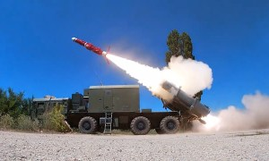 Russia Black Sea Fleet Bal Coastal Missile System Unit Fires Live Weapon on Practice Target