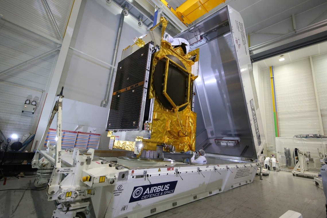 The ANASIS-II satellite is shipped from Airbus Defence and Space in Toulouse, France to be prepared for launch at Cape Canaveral