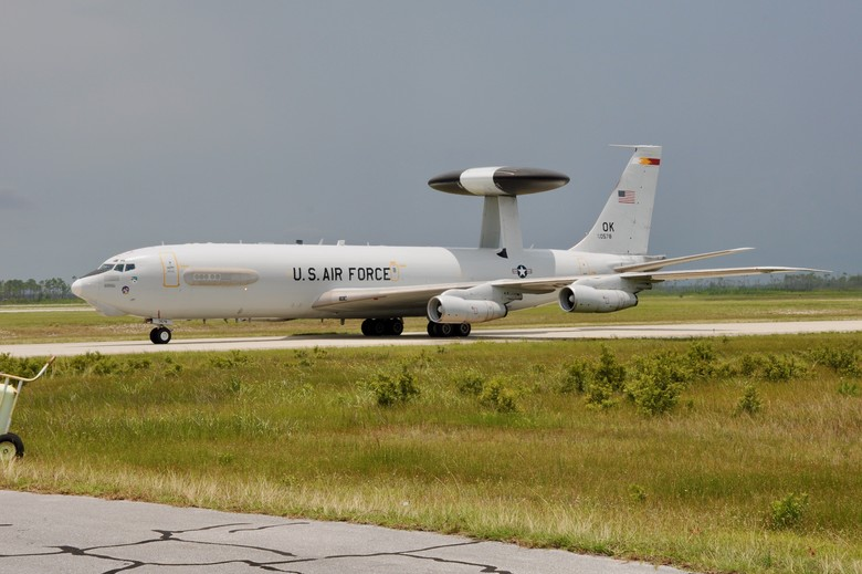 An E-3 Sentry lands at Tyndall AFB for the first ever COMBAT Sentry Weapons System Evaluation Program. (U.S. Air Force photo by 1st Lt Savanah Bray)