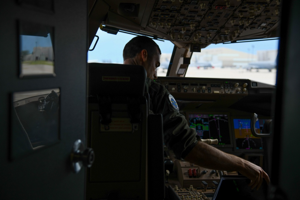 Maj. Michael Murphy, 905th Air Refueling Squadron pilot, conducts a preflight check July 9, 2020, at McConnell Air Force Base, Kansas.