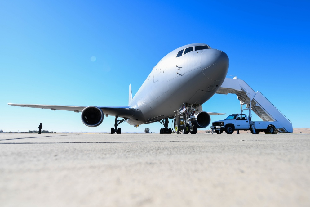 A KC-46A Pegasus assigned to McConnell Air Force Base, Kansas sits on the flightline July 11, 2020 at Travis Air Force Base, California.