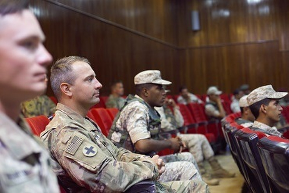 U.S. Army and Jordan Armed Forces Soldiers at the Jordan Operational Engagement Program (JOEP) graduation ceremony July 9.