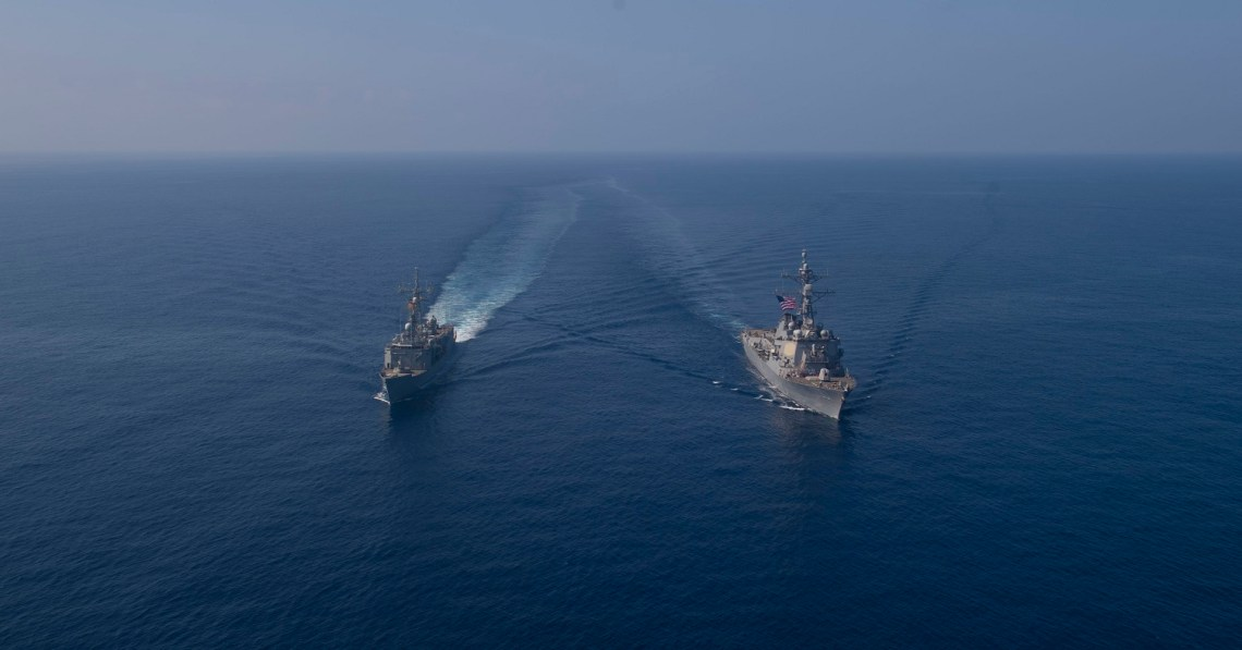 US Navy USS Roosevelt Conducts Passing Exercise with Spanish Navy ESPS Reina Sofia