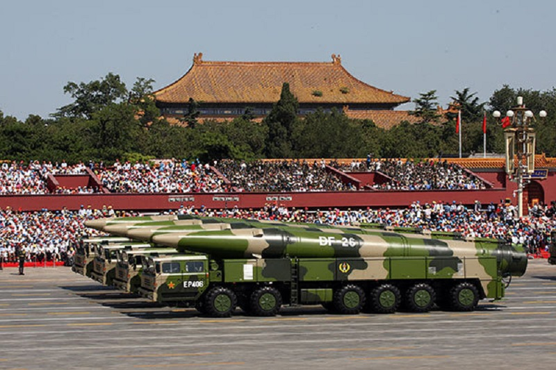 Dong-Feng 26 (DF-26) intermediate-range ballistic missiles appear in the Sept 3 parade in Beijing.