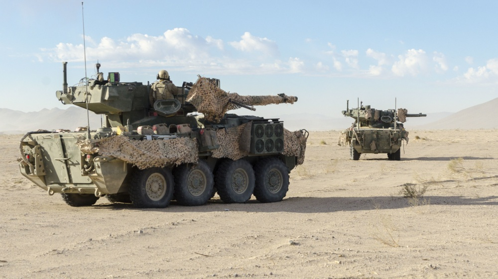 A M1128 MGS Stryker, assigned to the 4th Squadron, 3rd Cavalry Regiment, provides security during Decisive Action Rotation 20-02 at the National Training Center on Fort Irwin, Calif.