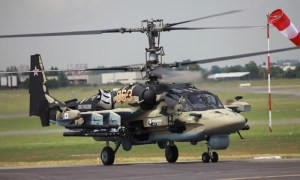 A Ka-52 attack helicopter with launchers for Vikhr-1 missiles