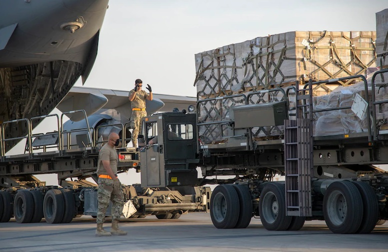 U.S. Air Force Airmen prepare to load humanitarian aid supplies onto a U.S. Air Force C-17 Globemaster III at Al Udeid Air Base, Qatar, Aug. 6, 2020, bound for Beirut. U.S. Central Command is coordinating with the Lebanese Armed Forces and U.S. Embassy-Beirut to transport critical supplies as quickly as possible to support the needs of the Lebanese people after a deadly port explosion Aug. 4.
