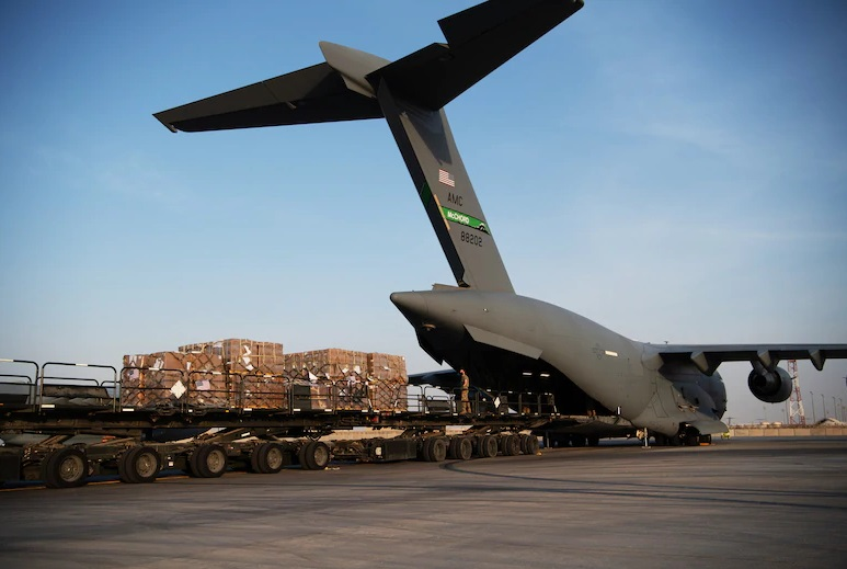 U.S. Air Force Airmen load humanitarian aid supplies onto a U.S. Air Force C-17 Globemaster III at Al Udeid Air Base, Qatar, Aug. 6, 2020, bound for Beirut. U.S. Central Command is coordinating with the Lebanese Armed Forces and U.S. Embassy-Beirut to transport critical supplies as quickly as possible to support the needs of the Lebanese people after the deadly port explosion Aug. 4.