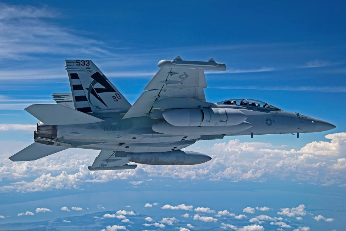 Next Generation Jammer Mid-Band (NGJ-MB) flies for the first time on an EA-18G Growler, Aug. 7, over Naval Air Station Patuxent River, Md.