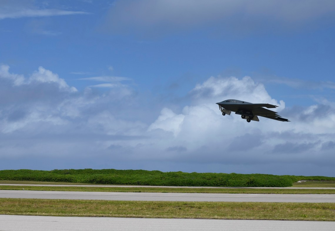 A B-2 Spirit Stealth Bomber, deployed from Whiteman Air Force Base, Missouri, takes-off from Naval Support Facility Diego Garcia, to support a Bomber Task Force mission, Aug. 17, 2020.