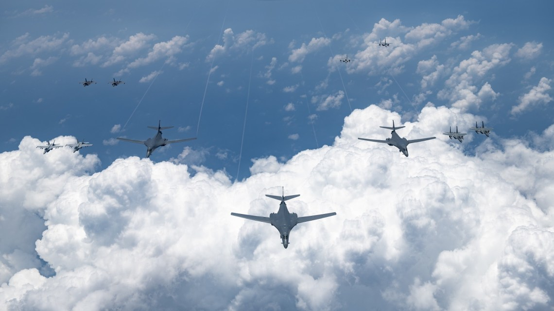 U.S. Air Force, Navy, Marine Corps and Japan Air Self Defense Force aircraft conduct a large-scale joint and bilateral integration training exercise Aug. 18, 2020. Four B-1B Lancers, two B-2 Spirit Stealth Bombers, and four F-15C Eagles conducted Bomber Task Force missions simultaneously within the Indo-Pacific region over the course of 24 hours. Pacific Air Forces routinely conducts BTF operations to show the United States' commitment to allies and partners in the Indo-Pacific area of responsibility.