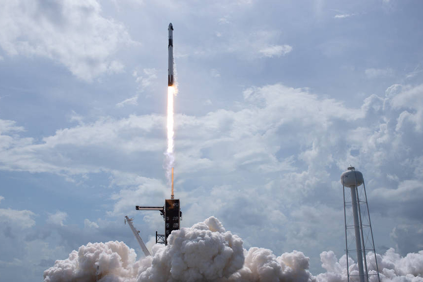 A SpaceX Falcon 9 rocket, carrying the company's Crew Dragon spacecraft