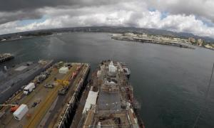 USS Hopper (DDG-70) Undocking Time-Lapse From Pearl Harbor Naval Shipyard