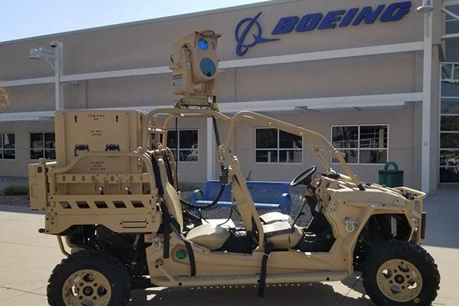 Boeing's Compact Laser Weapons System (CLWS) mounted on a Utility Task Vehicle.