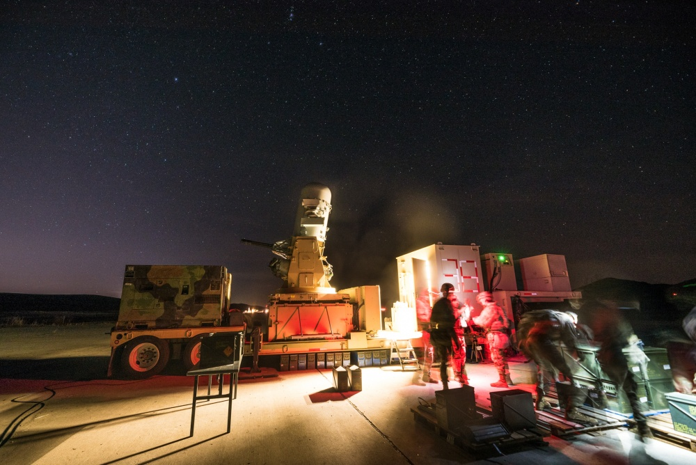 Members of Charlie Battery, 2nd Battalion, 44th Air Defense Artillery Regiment, begin unboxing ammunition during C-RAM nighttime testing on Fort Sill, Okla., Jan. 24, 2020. Second Battalion, 44th Air Defense Artillery Regiment, traveled from Fort Campbell, Ky., to be tested.