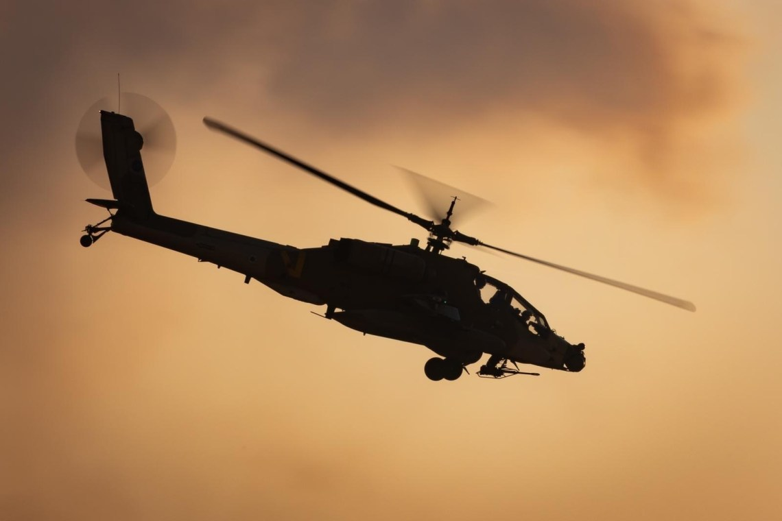 Israeli Air Force Apache Attack Helicopters Train in Southern Region