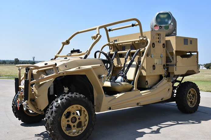 Raytheon Intelligence & Space's sophisticated MTS sensor package, combined with a high-energy laser and mounted on the MRZR vehicle, could offer an effective defense against UAVs.