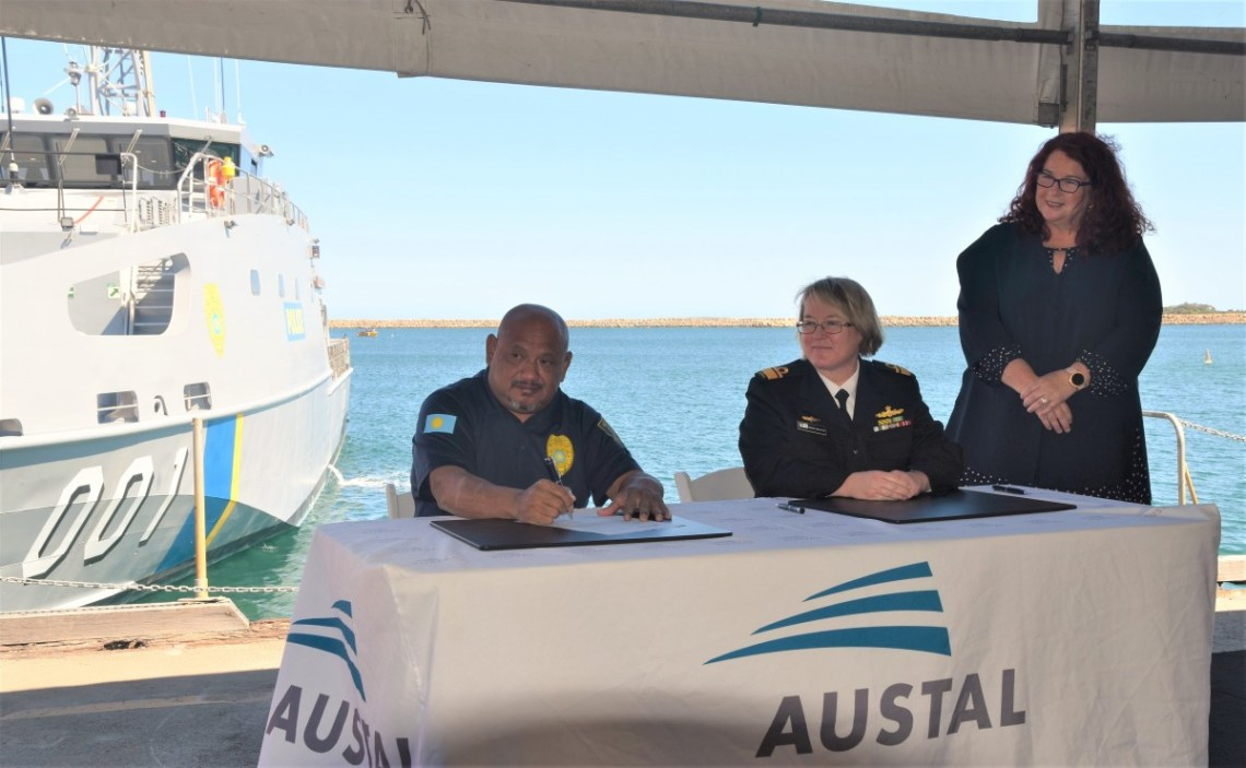 LCDR Emerson Nobuo, Commanding Officer PSS President H.I. Remeliik II and The Hon Melissa Price MP, Minister for Defence Industry (Image: Austal)