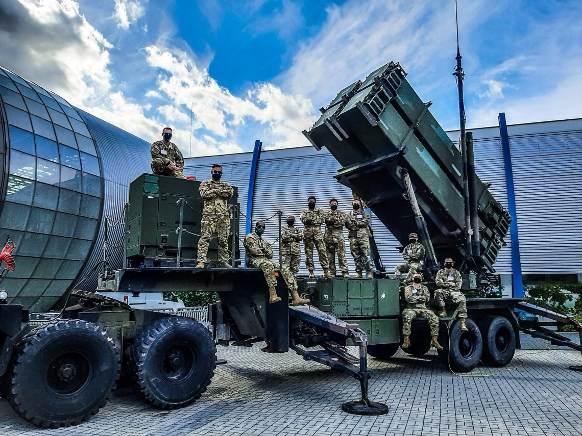 Soldiers from Alpha Battery, 5th Battalion, 7th Air Defense Artillery Regiment on a Patriot Launching System at the 28th International Defense Industry Exhibition MSPO 2020 on Sept 9, 2020 in Targi Kielce, Poland.