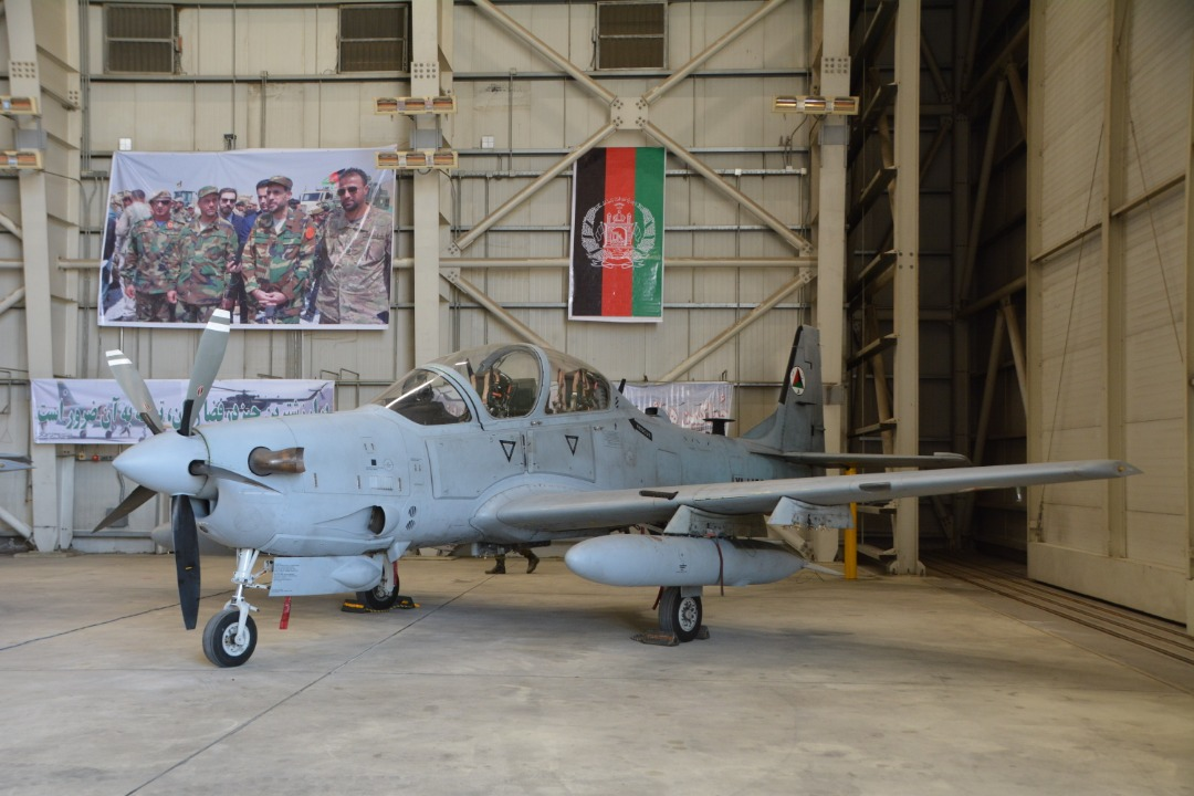 The United States, as a contributing nation to the NATO-led Resolute Support Mission, transfers four A-29 Super Tocano aircraft to the Afghan Air Force, during a ceremony in Kabul