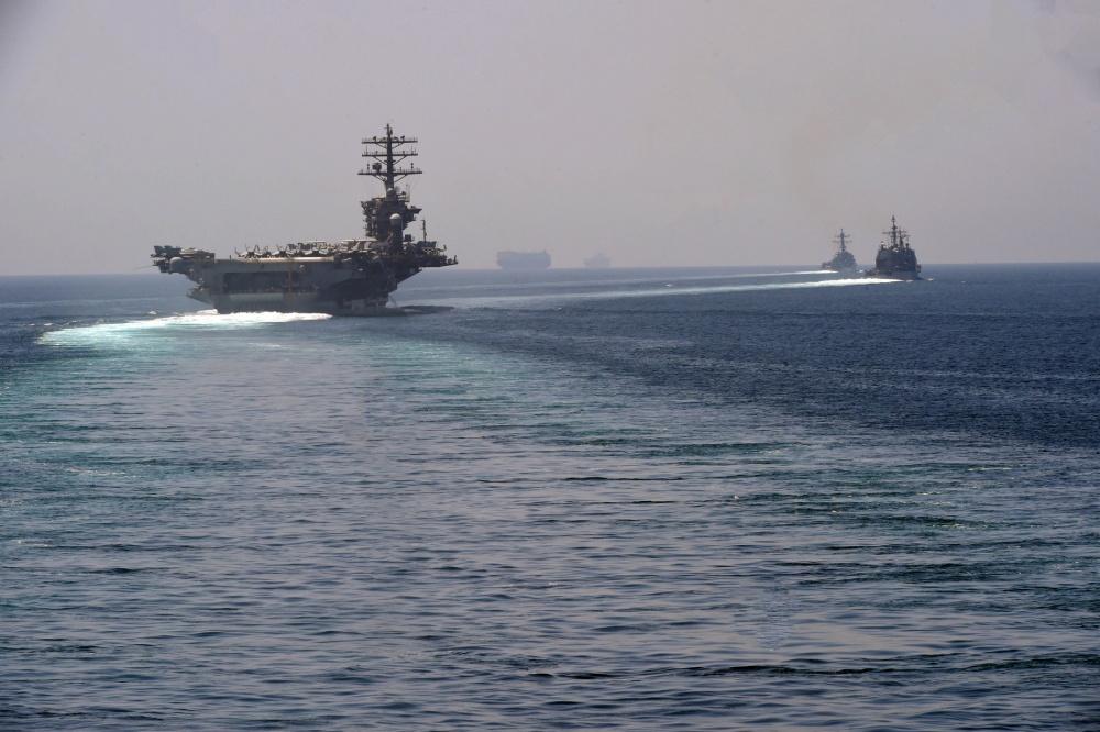 US Navy USS Nimitz with Accompanying Nimitz Carrier Strike Group Ships Enter Persian Gulf