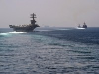 US Navy USS Nimitz with Accompanying Nimitz Carrier Strike Group Ships Enter Persian Gulf