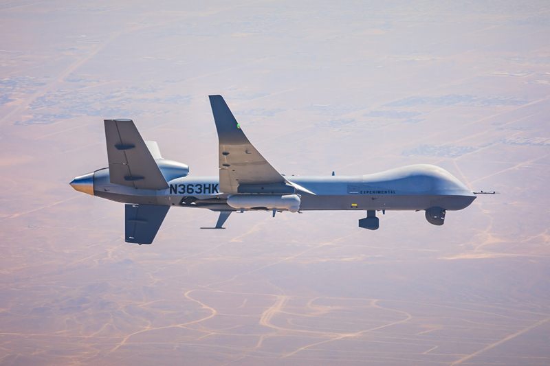 During the tests, an MQ-9 equipped with a REAP pod relayed video received from a Coyote small UAV to a ground node at distances over 110 miles, while simultaneously bridging voice communications over mobile ad hoc networks at extended distances. (GA-ASI photo)