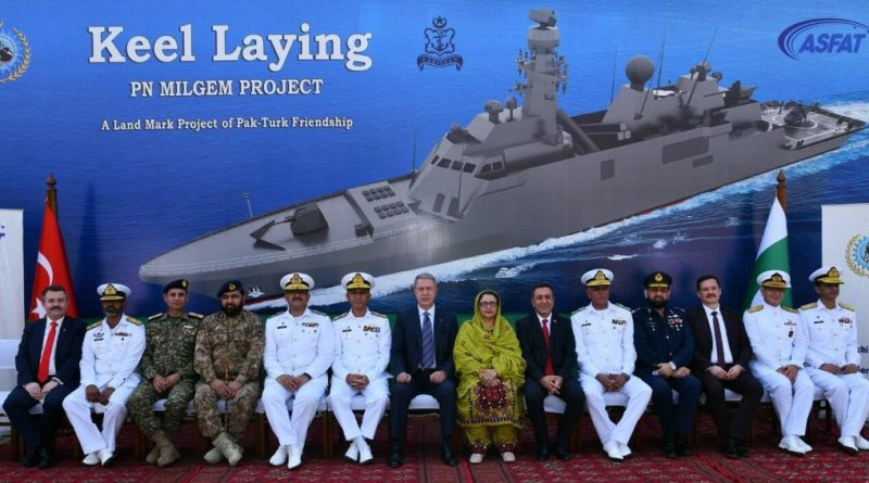 Pakistani and Turkish officials attended the keel-laying ceremony of the second Milgem-class ASW corvette for the Pakistani Navy on Monday. The lead ship was built in Turkey, and follow-on corvettes will be built in Pakistan under license.