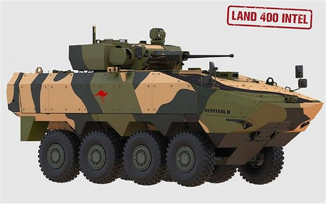 The Sentinel II armoured is based on the Terrex 2 armoured from Singapore ST Kinetics fitted with an Elbit MT30 turret 30mm automatic cannon.