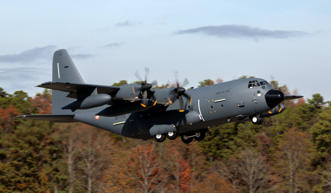 France's second KC-130J Super Hercules aerial refueler takes off from Lockheed Martin's facility in Marietta, Georgia, upon delivery in 2019. (Photo by Lockheed Martin)