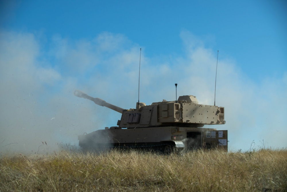 Troopers assigned to 2nd Battalion, 82nd Field Artillery, 3rd Armored Brigade Combat Team, 1st Cavalry Division, host a live fire demonstration with their newly received M109A7 Paladins, Fort Hood, Texas, Nov. 18, 2020.