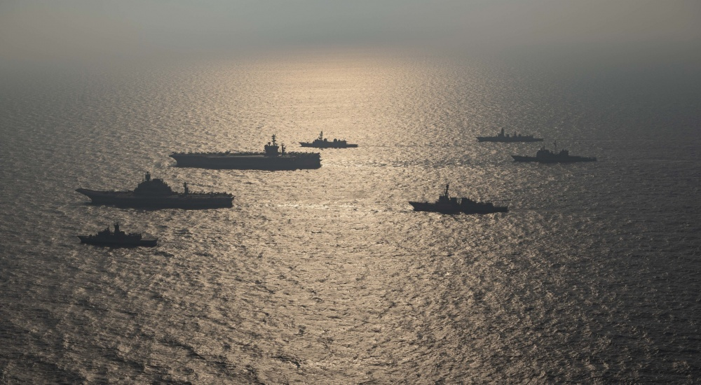 Ships from the Royal Australian Navy, Indian Navy, Japanese Maritime Self-Defense Force, and the United States Navy participate in Malabar 2020.
