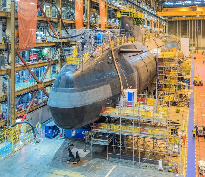 Rare picture of the fifth Astute-class submarine being built in Barrow, Cumbria