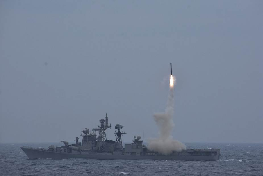 Indian Navy Test-Fires BrahMos Supersonic Cruise Missile from Destroyer INS Ranvijay
