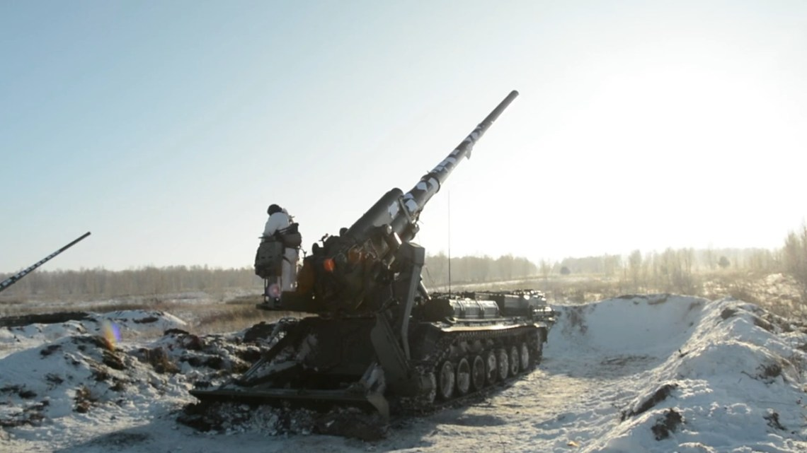 Russian Central Military District 2S7 Malka 203mm self-propelled heavy howitzer