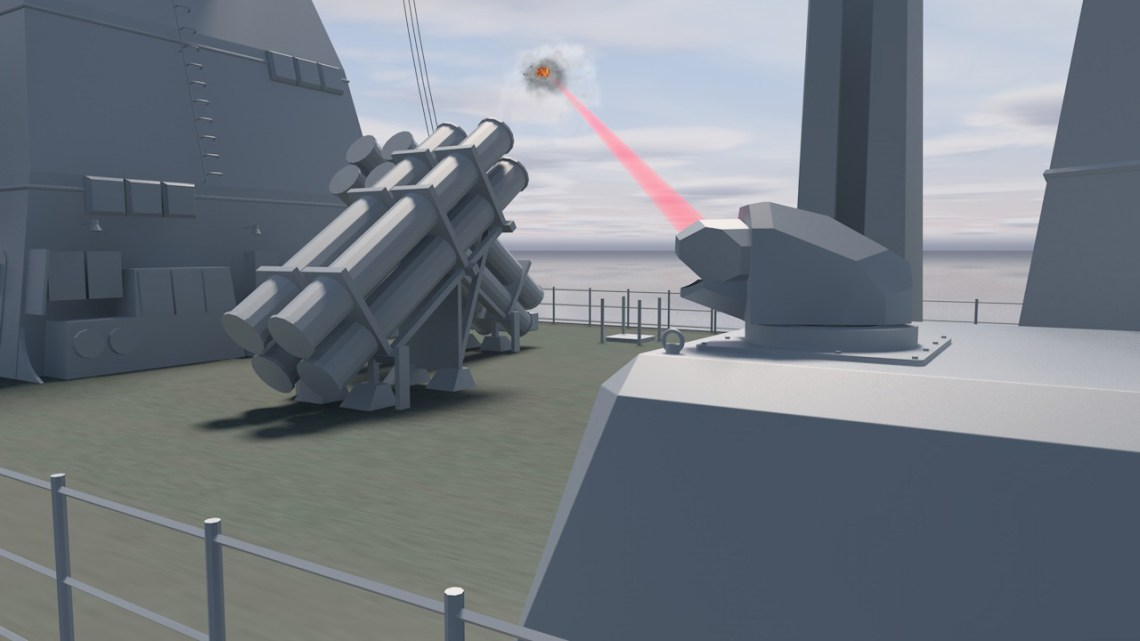 A computer graphic illustration of a laser weapon demonstrator onboard a German Navy frigate. Credit: MBDA.
