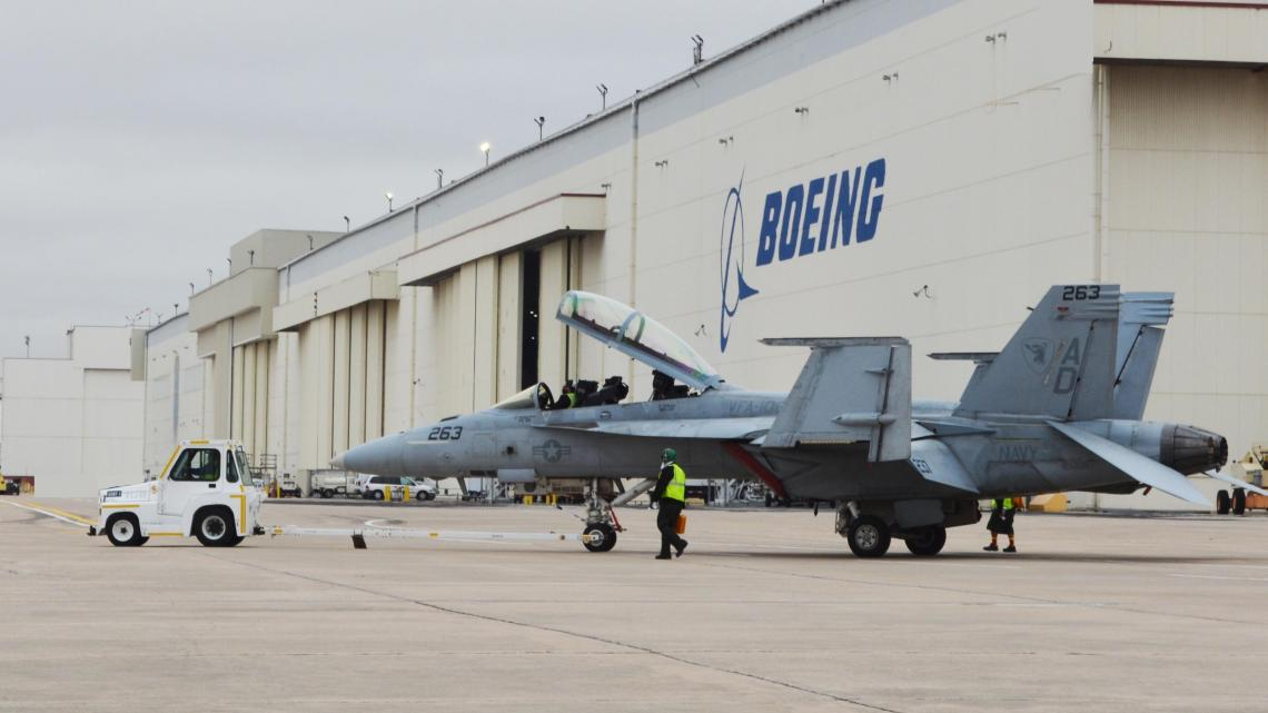 The first Boeing F/A-18E/F Super Hornet jet to undergo Service Life Modification at Boeing's San Antonio site taxis to the runway in preparation for return to its squadron earlier this month.