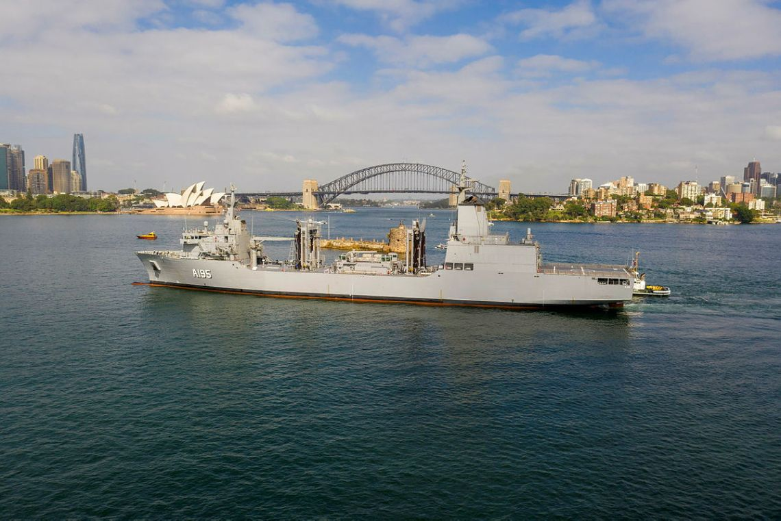 Royal Australian Navy NUSHIP Supply arrives at her home port for the first time, at Fleet Base East, Sydney, New South Wales.