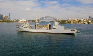 Royal Australian Navy NUSHIP Supply (A 195) Arrives at Her Sydney Homeport