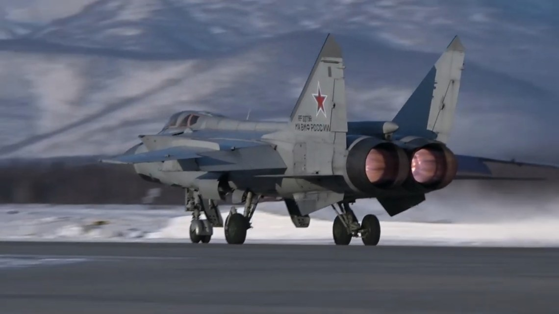 Russian Pacific Fleet MiG-31BM Hold Intercept Exercise Over the Kamchatka Peninsula