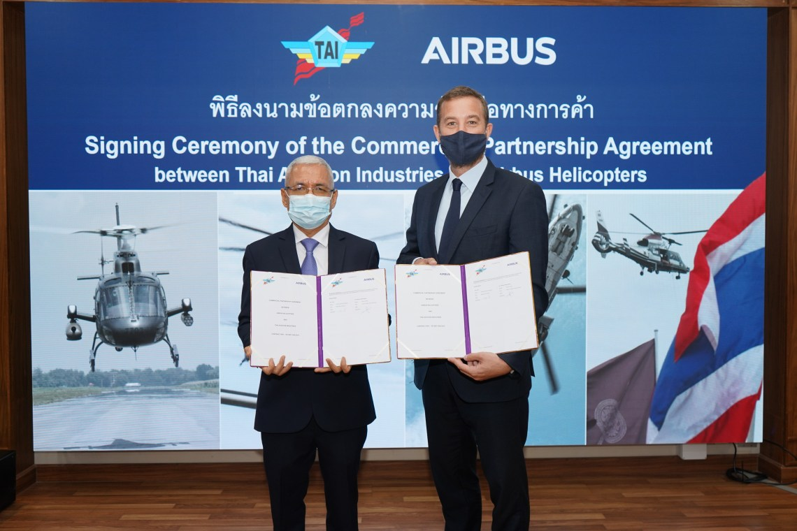 Air Chief Marshal Supachai Saingurn, managing director of Thai Aviation Industries (left) and Pierre Andre, managing director, Airbus Helicopters Thailand.