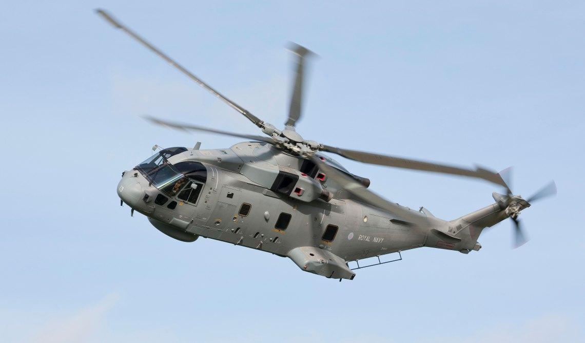 Royal Navy's Merlin HM Mk2 Airborne Submarine Hunter Helicopter.