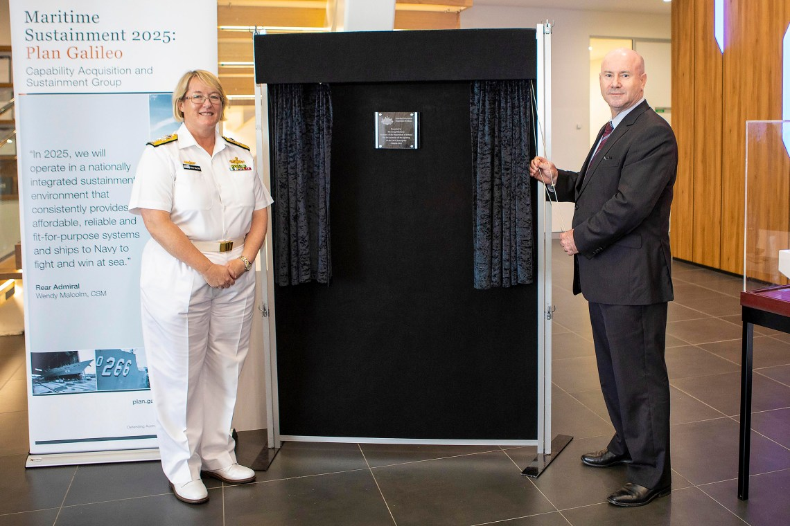 Head of Maritime Systems Rear Admiral Wendy Malcolm CSM, and Secretary of the Department of Defence Mr Greg Moriarty, officially pen the Off-Shore Patrol Vessel Enterprise Office at the Henderson Shipyard in Western Australia.