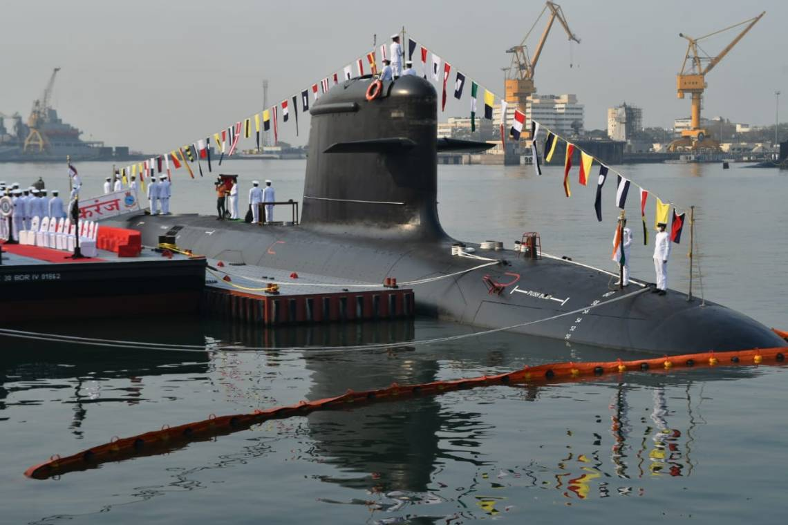 INS Karanj (S23) during commissioning ceremony