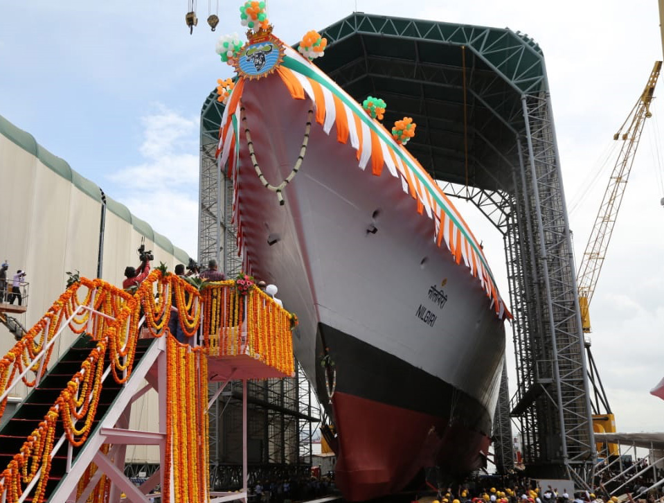 The INS Nilgiri, the first of Indian Navy's seven new stealth frigates, in Mumbai on September 28, 2019.