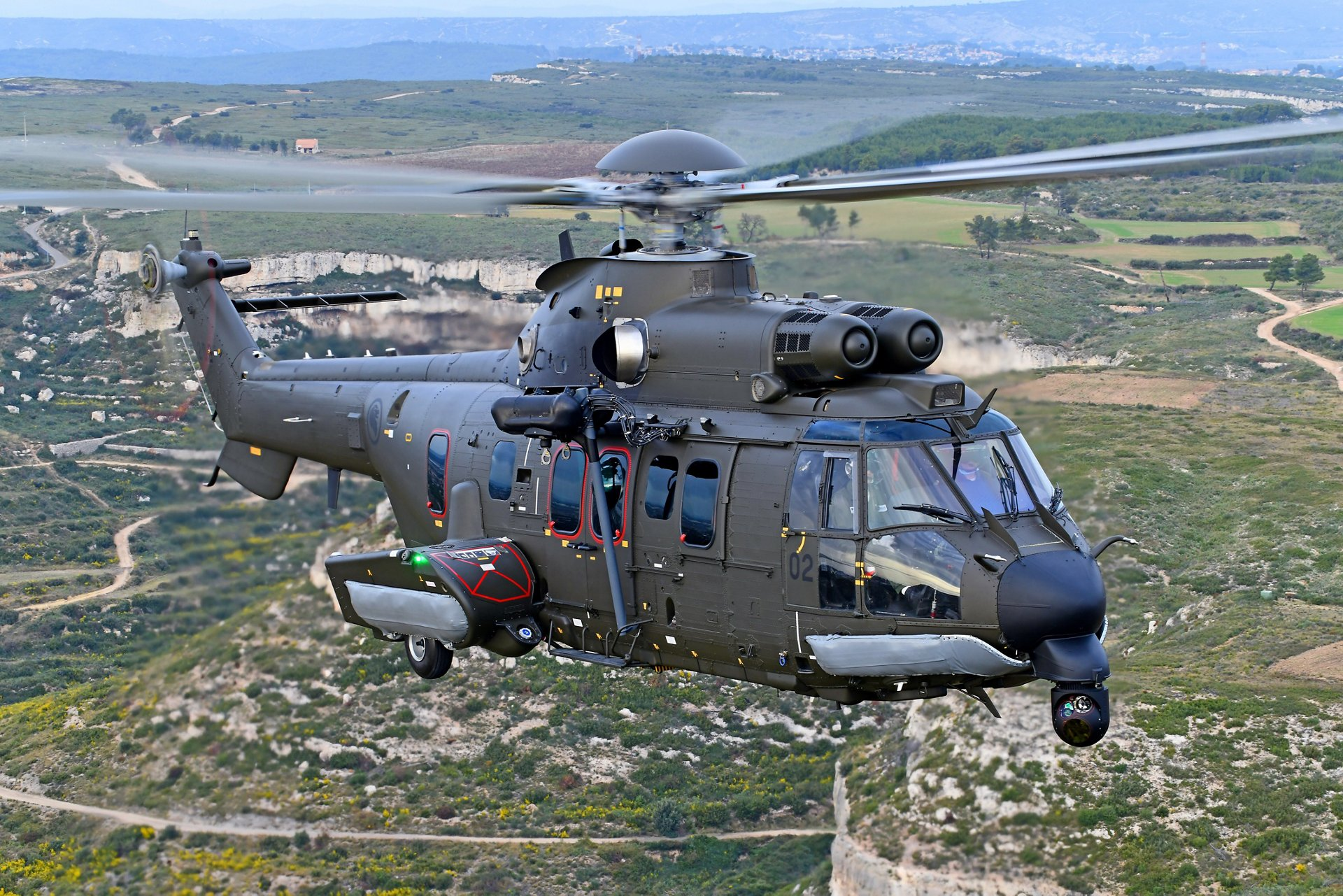 Republic of Singapore Air Force H225M medium lift helicopter In Marignane, southern France.