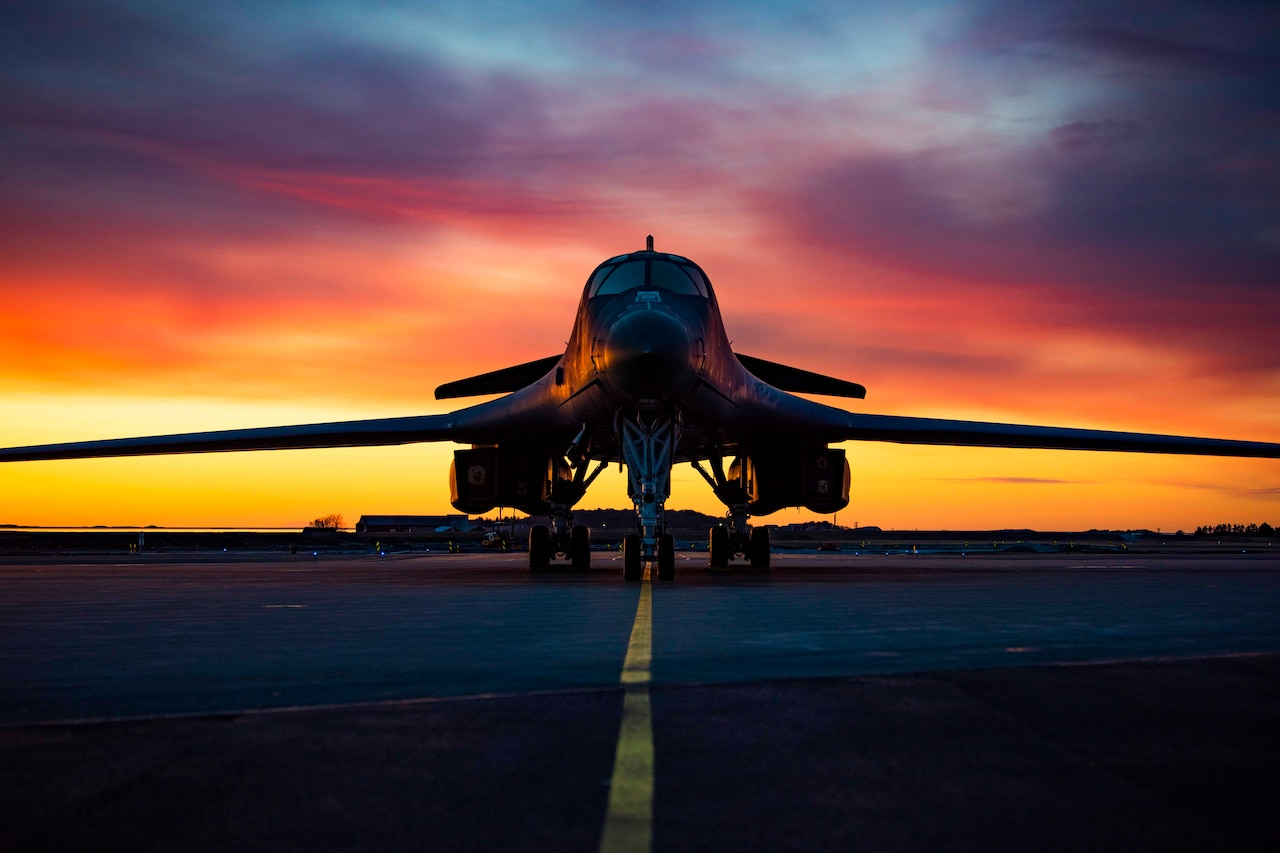 U.S. Air Force B-1B Lancer sits on the flightline at Orland Air Force Station, Norway, March 14, 2021.